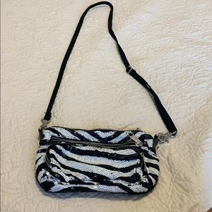 Sparkly black and white bag
